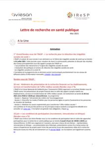 LETTRE D'INFORMATION DE LA RECHERCHE EN SANTÉ PUBLIQUE